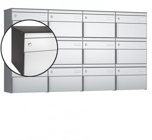 Stebler 12-er Briefkastengruppe, s:box 13, Post-Norm, 4x3, Patina/Weissaluminium