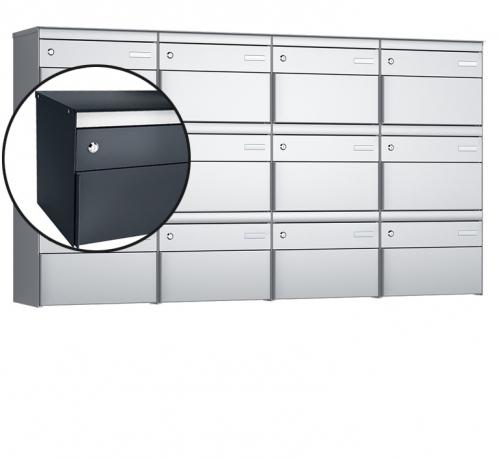 Stebler 12-er Briefkastengruppe, s:box 13, Post-Norm, 4x3, Anthrazit