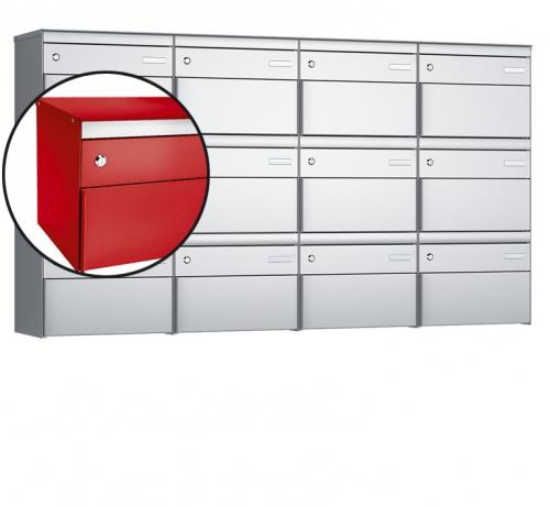 Stebler 12-er Briefkastengruppe, s:box 13, Post-Norm, 4x3, Feuerrot