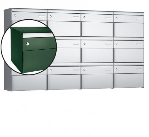 Stebler 12-er Briefkastengruppe, s:box 13, Post-Norm, 4x3, Moosgrün