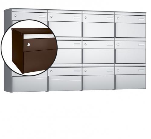Stebler 12-er Briefkastengruppe, s:box 13, Post-Norm, 4x3, Schokoladenbraun