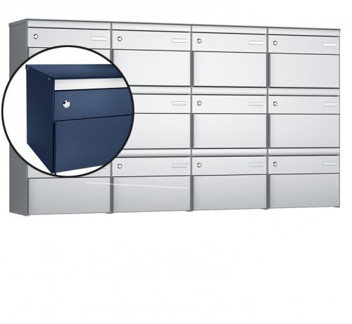 Stebler 12-er Briefkastengruppe, s:box 13, Post-Norm, 4x3, Saphirblau