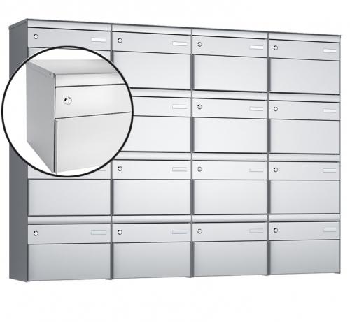 Stebler 16-er Briefkastengruppe, s:box 13, Post-Norm, 4x4, Weissaluminium