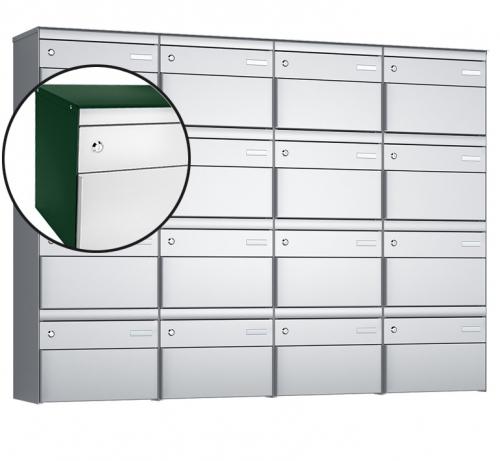 Stebler 16-er Briefkastengruppe, s:box 13, Post-Norm, 4x4, Moosgrün/Weissaluminium