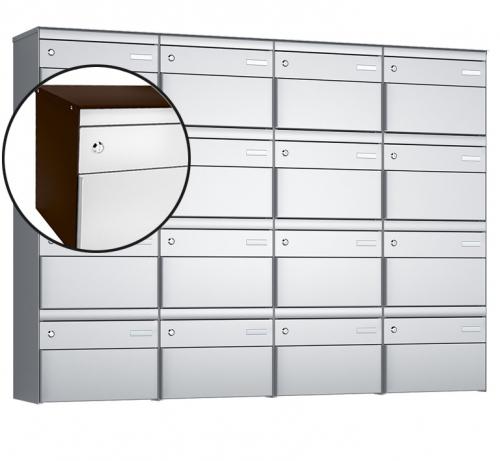 Stebler 16-er Briefkastengruppe, s:box 13, Post-Norm, 4x4, Schokoladenbraun/Weissaluminium