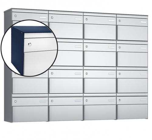 Stebler 16-er Briefkastengruppe, s:box 13, Post-Norm, 4x4, Saphirblau/Weissaluminium