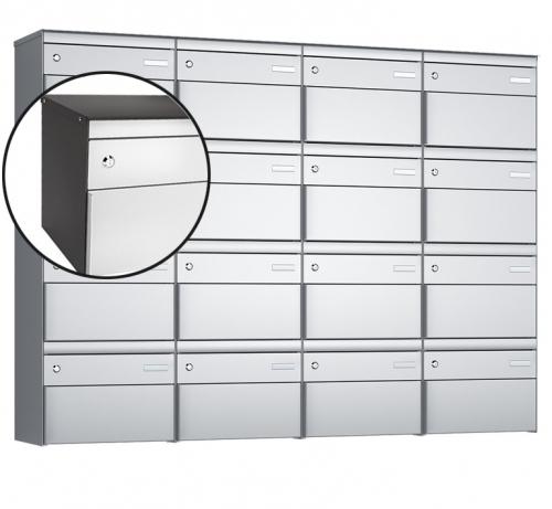 Stebler 16-er Briefkastengruppe, s:box 13, Post-Norm, 4x4, Patina/Weissaluminium