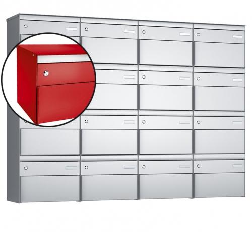 Stebler 16-er Briefkastengruppe, s:box 13, Post-Norm, 4x4, Feuerrot