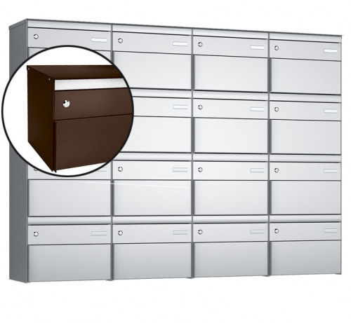 Stebler 16-er Briefkastengruppe, s:box 13, Post-Norm, 4x4, Schokoladenbraun