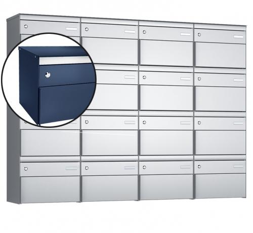 Stebler 16-er Briefkastengruppe, s:box 13, Post-Norm, 4x4, Saphirblau