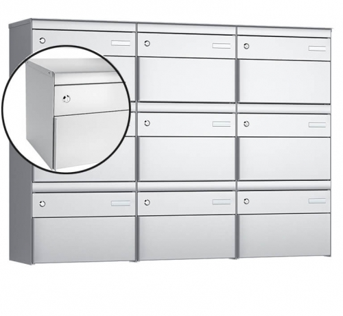 Stebler 9-er Briefkastengruppe, s:box 13, Post-Norm, 3x3, Weissaluminium