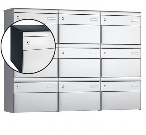 Stebler 9-er Briefkastengruppe, s:box 13, Post-Norm, 3x3, Anthrazit/Weissaluminium