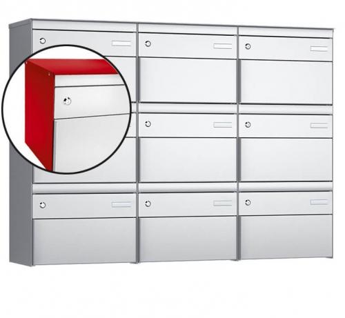 Stebler 9-er Briefkastengruppe, s:box 13, Post-Norm, 3x3, Feuerrot/Weissaluminium