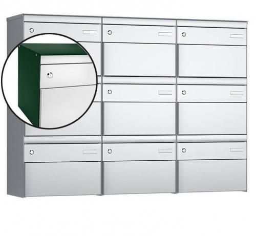 Stebler 9-er Briefkastengruppe, s:box 13, Post-Norm, 3x3, Moosgrün/Weissaluminium