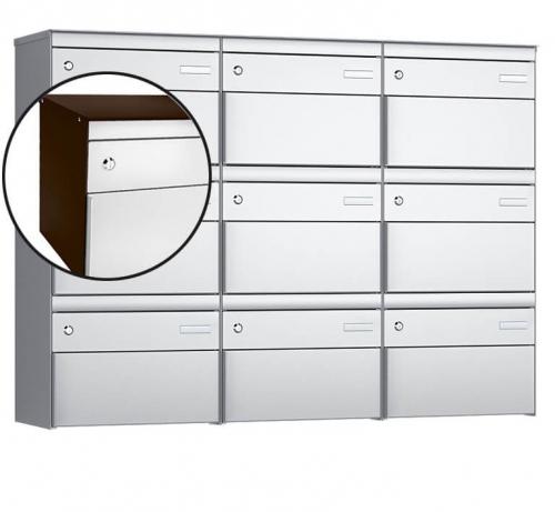 Stebler 9-er Briefkastengruppe, s:box 13, Post-Norm, 3x3, Schokoladenbraun/Weissaluminium