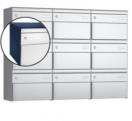 Stebler 9-er Briefkastengruppe, s:box 13, Post-Norm, 3x3, Saphirblau/Weissaluminium