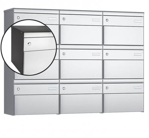 Stebler 9-er Briefkastengruppe, s:box 13, Post-Norm, 3x3, Patina/Weissaluminium