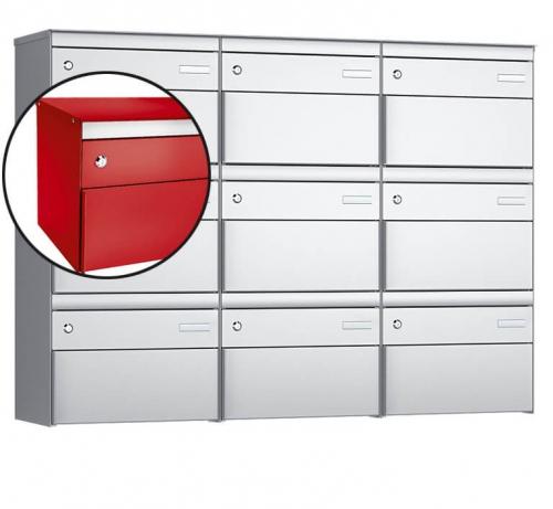 Stebler 9-er Briefkastengruppe, s:box 13, Post-Norm, 3x3, Feuerrot