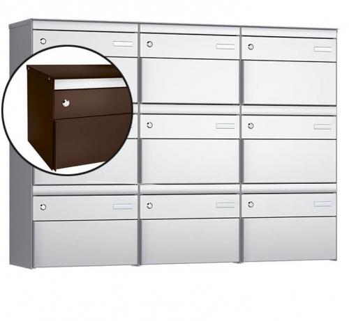 Stebler 9-er Briefkastengruppe, s:box 13, Post-Norm, 3x3, Schokoladenbraun