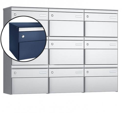 Stebler 9-er Briefkastengruppe, s:box 13, Post-Norm, 3x3, Saphirblau