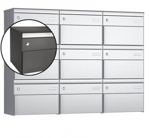 Stebler 9-er Briefkastengruppe, s:box 13, Post-Norm, 3x3, Patina