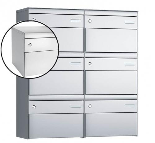 Stebler 6-er Briefkastengruppe, s:box 13, Post-Norm, 2x3, Weissaluminium