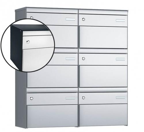 Stebler 6-er Briefkastengruppe, s:box 13, Post-Norm, 2x3, Anthrazit/Weissaluminium