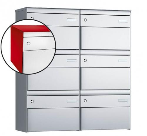Stebler 6-er Briefkastengruppe, s:box 13, Post-Norm, 2x3, Feuerrot/Weissaluminium