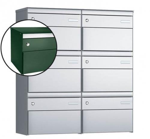 Stebler 6-er Briefkastengruppe, s:box 13, Post-Norm, 2x3, Moosgrün/Weissaluminium