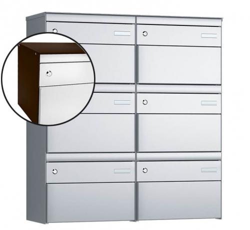Stebler 6-er Briefkastengruppe, s:box 13, Post-Norm, 2x3, Schokoladenbraun/Weissaluminium