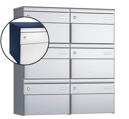 Stebler 6-er Briefkastengruppe, s:box 13, Post-Norm, 2x3, Saphirblau/Weissaluminium