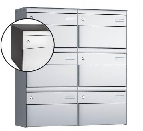 Stebler 6-er Briefkastengruppe, s:box 13, Post-Norm, 2x3, Patina/Weissaluminium