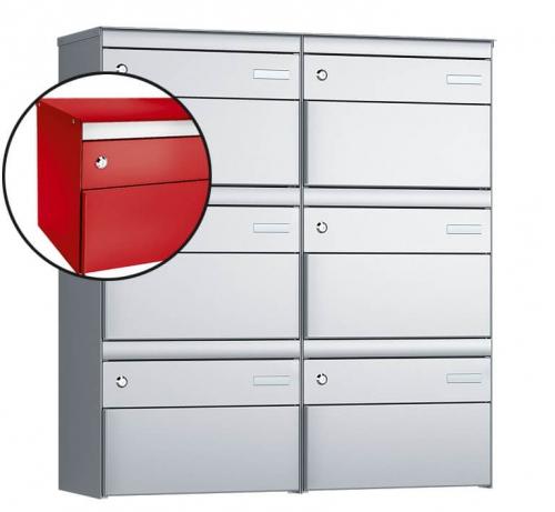 Stebler 6-er Briefkastengruppe, s:box 13, Post-Norm, 2x3, Feuerrot