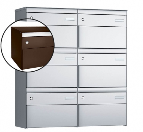 Stebler 6-er Briefkastengruppe, s:box 13, Post-Norm, 2x3, Schokoladenbraun