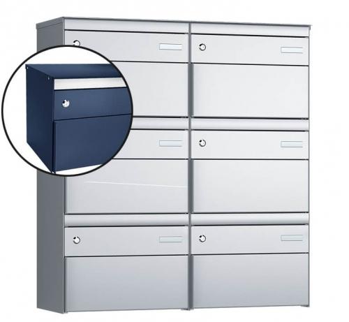 Stebler 6-er Briefkastengruppe, s:box 13, Post-Norm, 2x3, Saphirblau