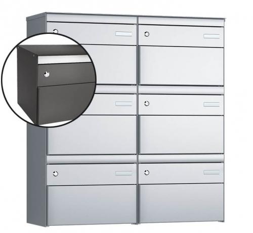 Stebler 6-er Briefkastengruppe, s:box 13, Post-Norm, 2x3, Patina