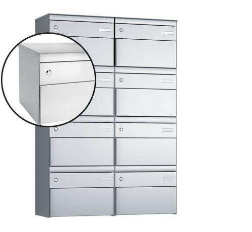 Stebler 8-er Briefkastengruppe, s:box 13, Post-Norm, 2x4, Weissaluminium