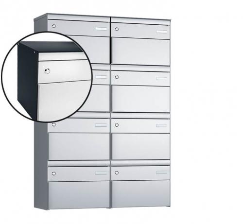 Stebler 8-er Briefkastengruppe, s:box 13, Post-Norm, 2x4, Anthrazit/Weissaluminium