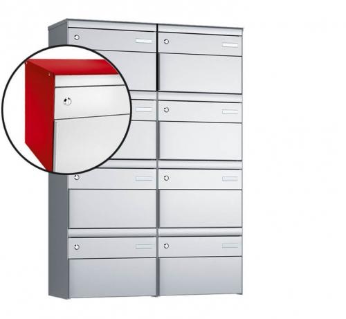 Stebler 8-er Briefkastengruppe, s:box 13, Post-Norm, 2x4, Feuerrot/Weissaluminium