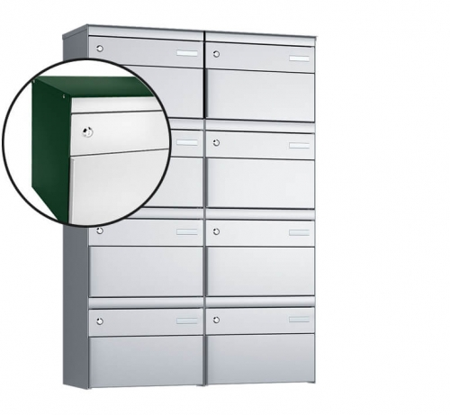 Stebler 8-er Briefkastengruppe, s:box 13, Post-Norm, 2x4, Moosgrün/Weissaluminium