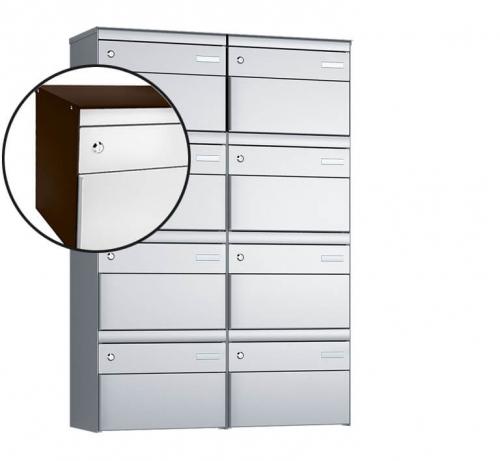 Stebler 8-er Briefkastengruppe, s:box 13, Post-Norm, 2x4, Schokoladenbraun/Weissaluminium