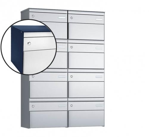 Stebler 8-er Briefkastengruppe, s:box 13, Post-Norm, 2x4, Saphirblau/Weissaluminium