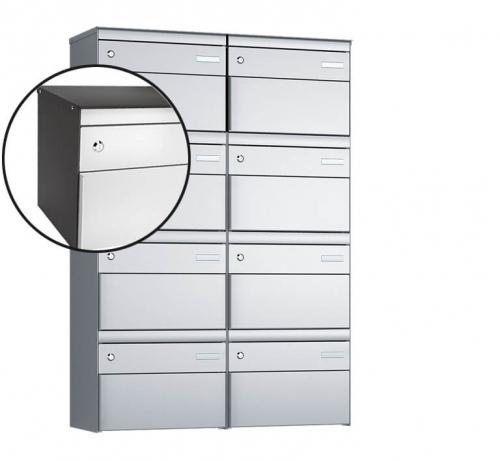 Stebler 8-er Briefkastengruppe, s:box 13, Post-Norm, 2x4, Patina/Weissaluminium