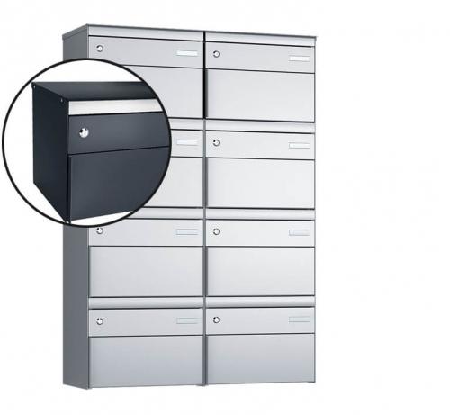 Stebler 8-er Briefkastengruppe, s:box 13, Post-Norm, 2x4, Anthrazit