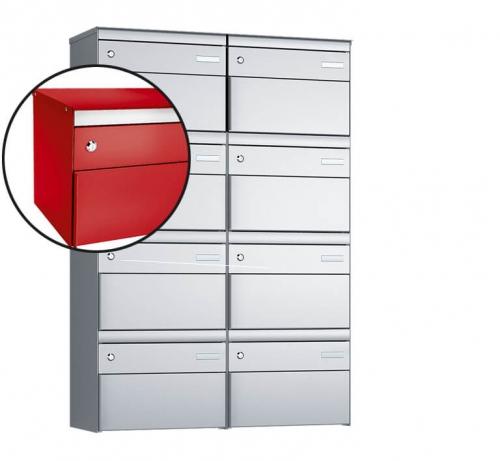 Stebler 8-er Briefkastengruppe, s:box 13, Post-Norm, 2x4, Feuerrot
