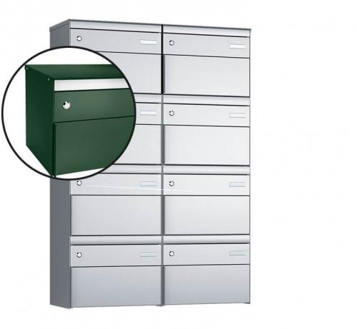 Stebler 8-er Briefkastengruppe, s:box 13, Post-Norm, 2x4, Moosgrün