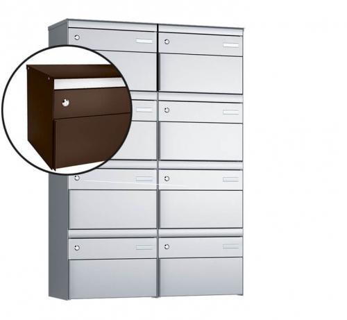 Stebler 8-er Briefkastengruppe, s:box 13, Post-Norm, 2x4, Schokoladenbraun