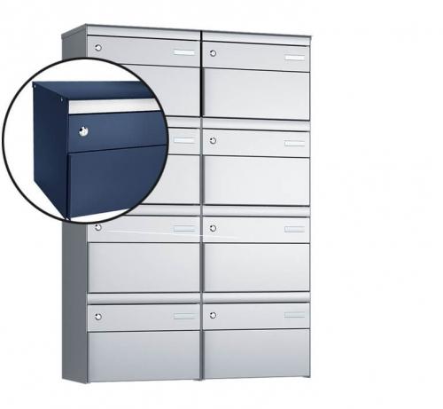 Stebler 8-er Briefkastengruppe, s:box 13, Post-Norm, 2x4, Saphirblau