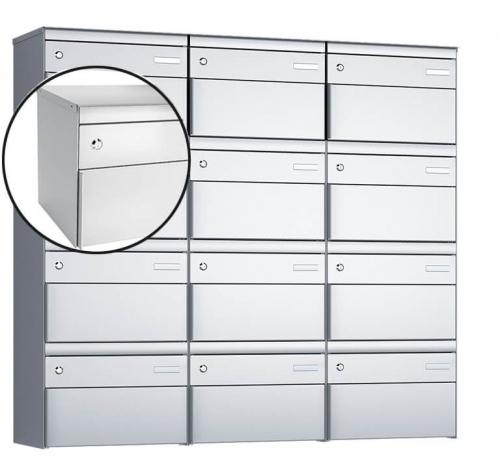 Stebler 12-er Briefkastengruppe, s:box 13, Post-Norm, 3x4, Weissaluminium