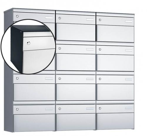 Stebler 12-er Briefkastengruppe, s:box 13, Post-Norm, 3x4, Anthrazit/Weissaluminium